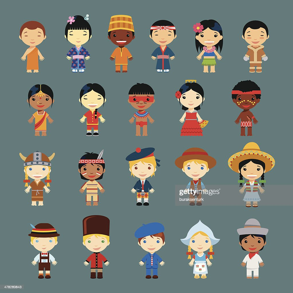 Happy World Kids Set with multicultural traditional costumes
