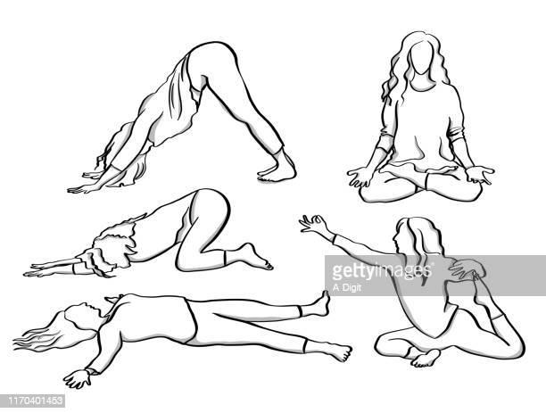 ilustraciones, imágenes clip art, dibujos animados e iconos de stock de happy yoga master - mindfulness