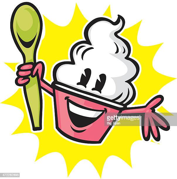 happy yogurt design - frozen yogurt stock illustrations, clip art, cartoons, & icons