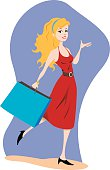 happy young blonde woman with shopping bag