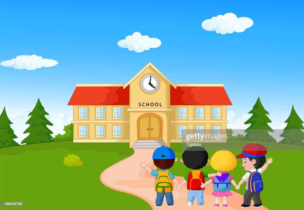 Happy young children cartoon walking together to school