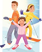 Happy Young Children Skiing and Snowboarding