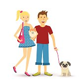 Happy young couple walking with pet dogs illustration