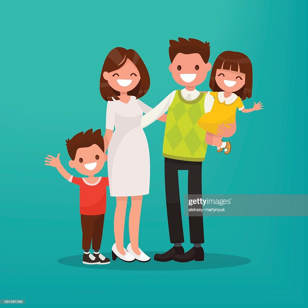 Happy young family. Vector illustration