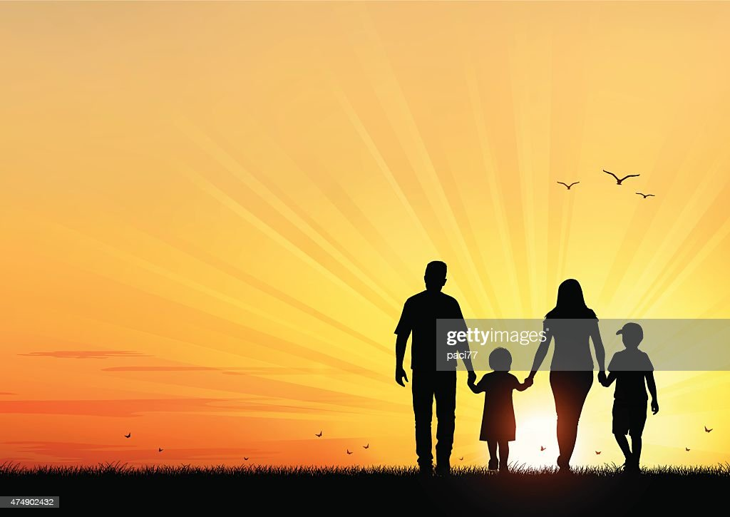 Happy Young Family walking at sunset : stock illustration