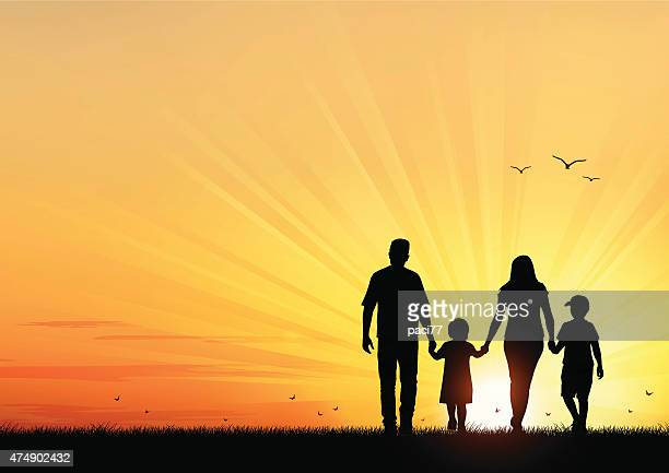 happy young family walking at sunset - parent stock illustrations