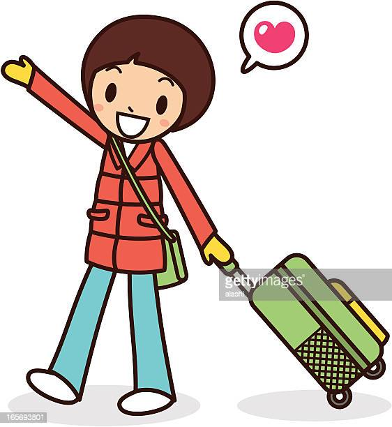 Happy young girl go to travel