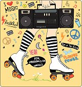 happy young girl legs with roller skates and stereo and music
