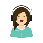 Happy young girl listening music in headphones vector illustration