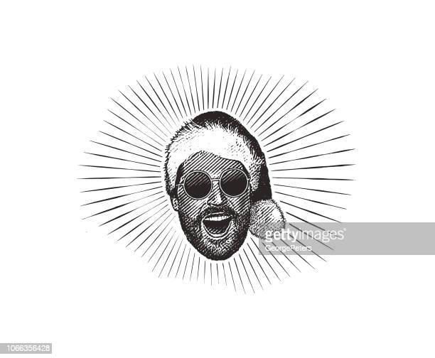 happy young hipster man wearing santa hat and sunglasses - young adult stock illustrations, clip art, cartoons, & icons