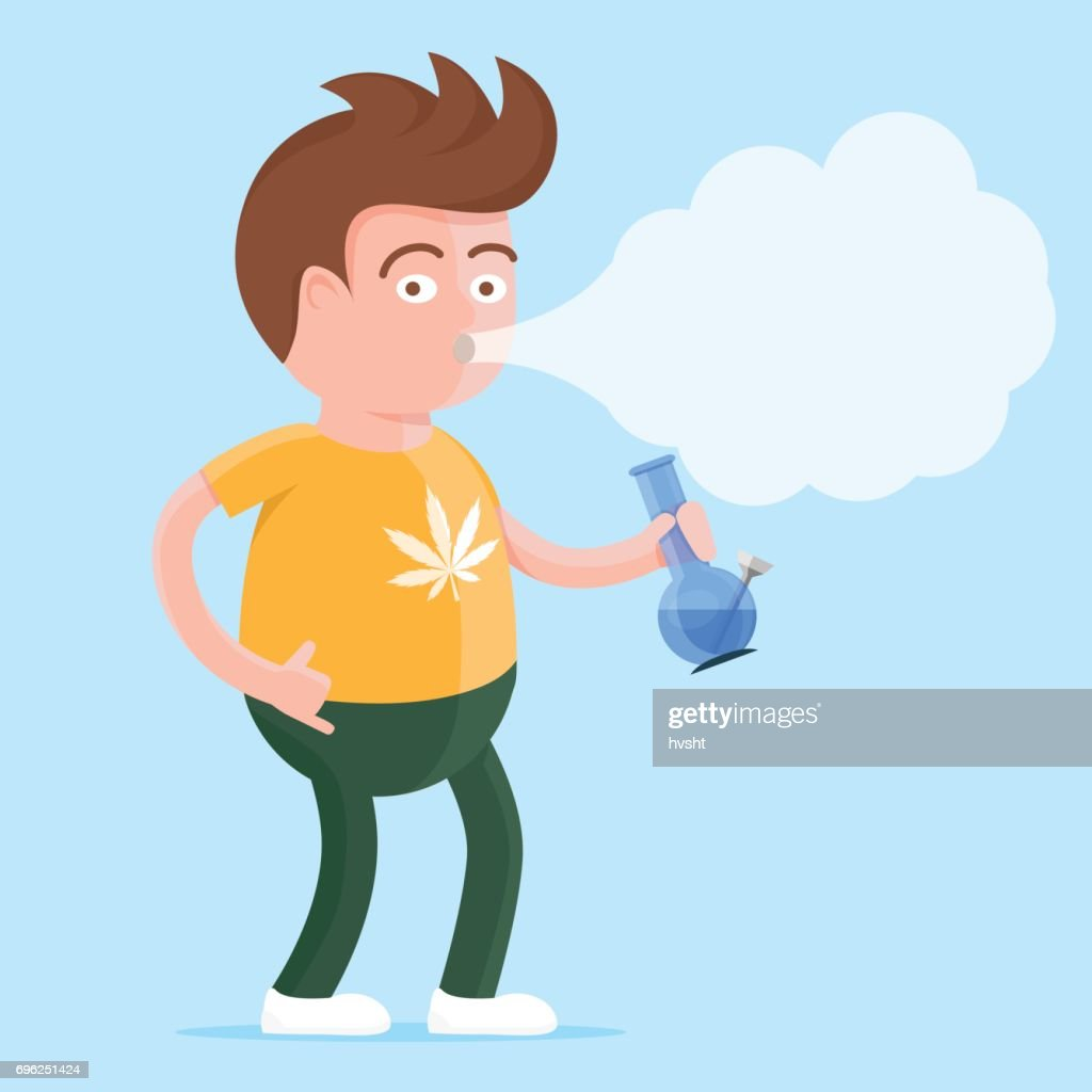 Happy young man in t-shirt with cannabis print and bong in the hand smoking marijuana. Colorful vector character illlustration in flat cartoon style.