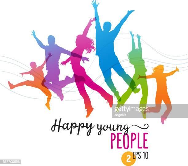 Gente joven feliz saltos de alegría