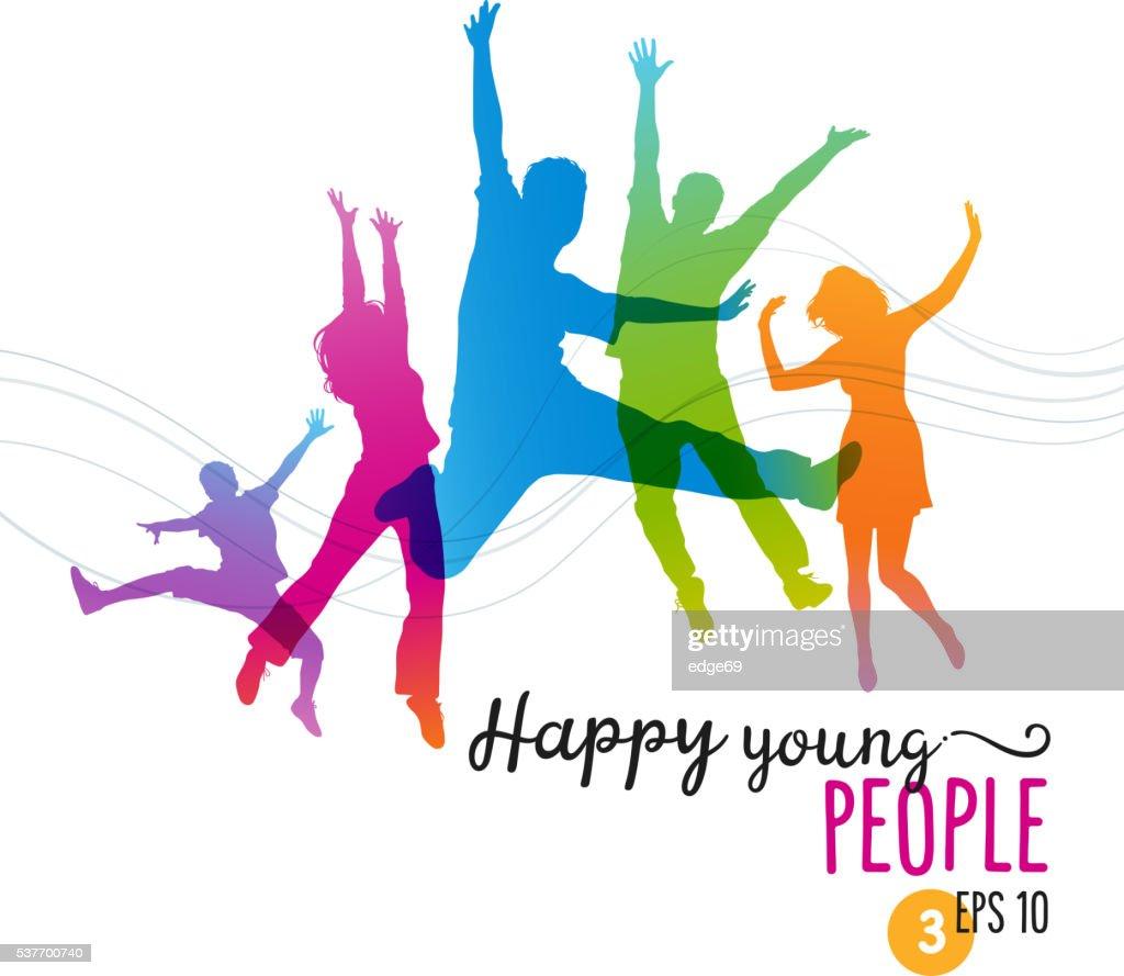 Pessoas jovens felizes pulando de alegria : Ilustração
