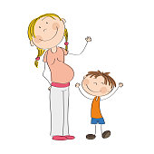 Happy young pregnant woman with her little son - original hand drawn illustration