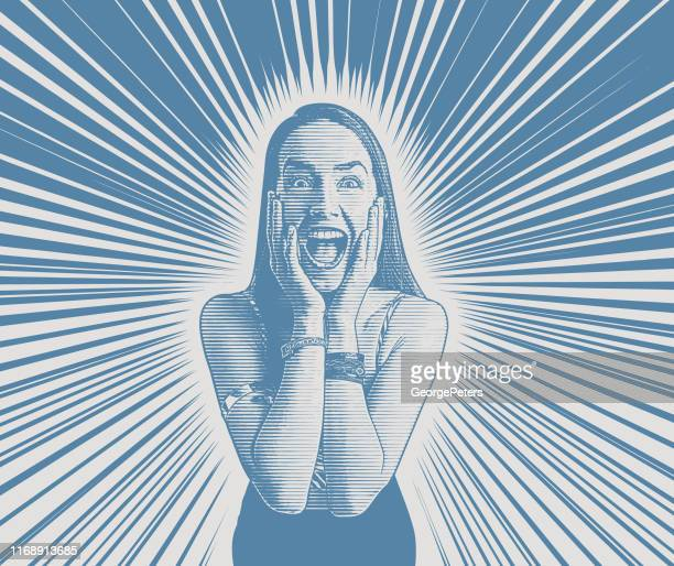 happy young woman celebrating - desaturated stock illustrations, clip art, cartoons, & icons