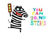 Happy Zebra with Green Traffic Light