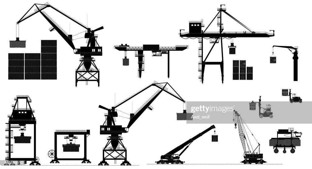 Harbor cargo cranes. Vector set. Black and white silhouette