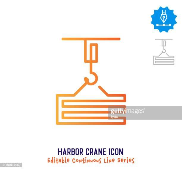 ハーバークレーン連続ライン編集可能アイコン - 荷積み場点のイラスト素材/クリップアート素材/マンガ素材/アイコン素材