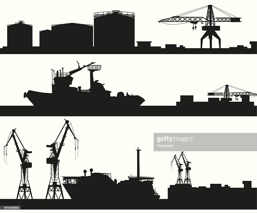 harbor skyline vector silhouette