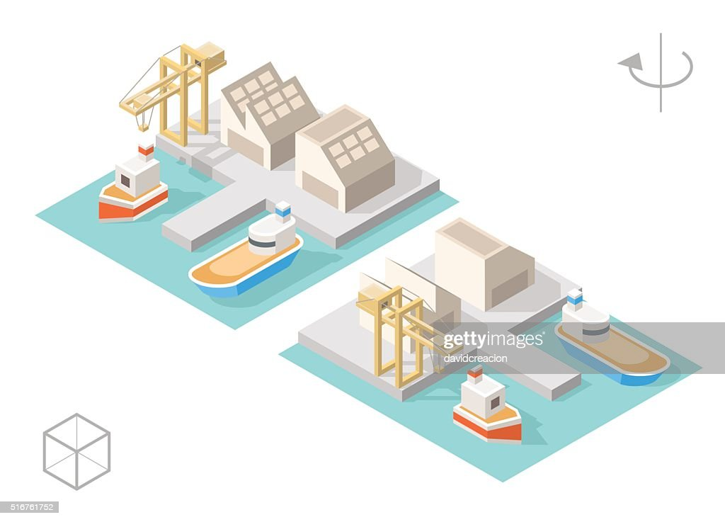 Harbor with Shadows on White Background.