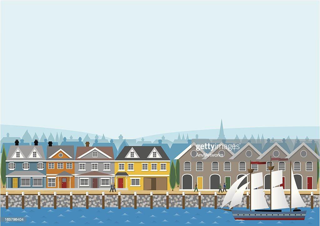 Harborside Banner : stock illustration