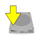 Hard Disk Drive with yellow arrow download on white background vector