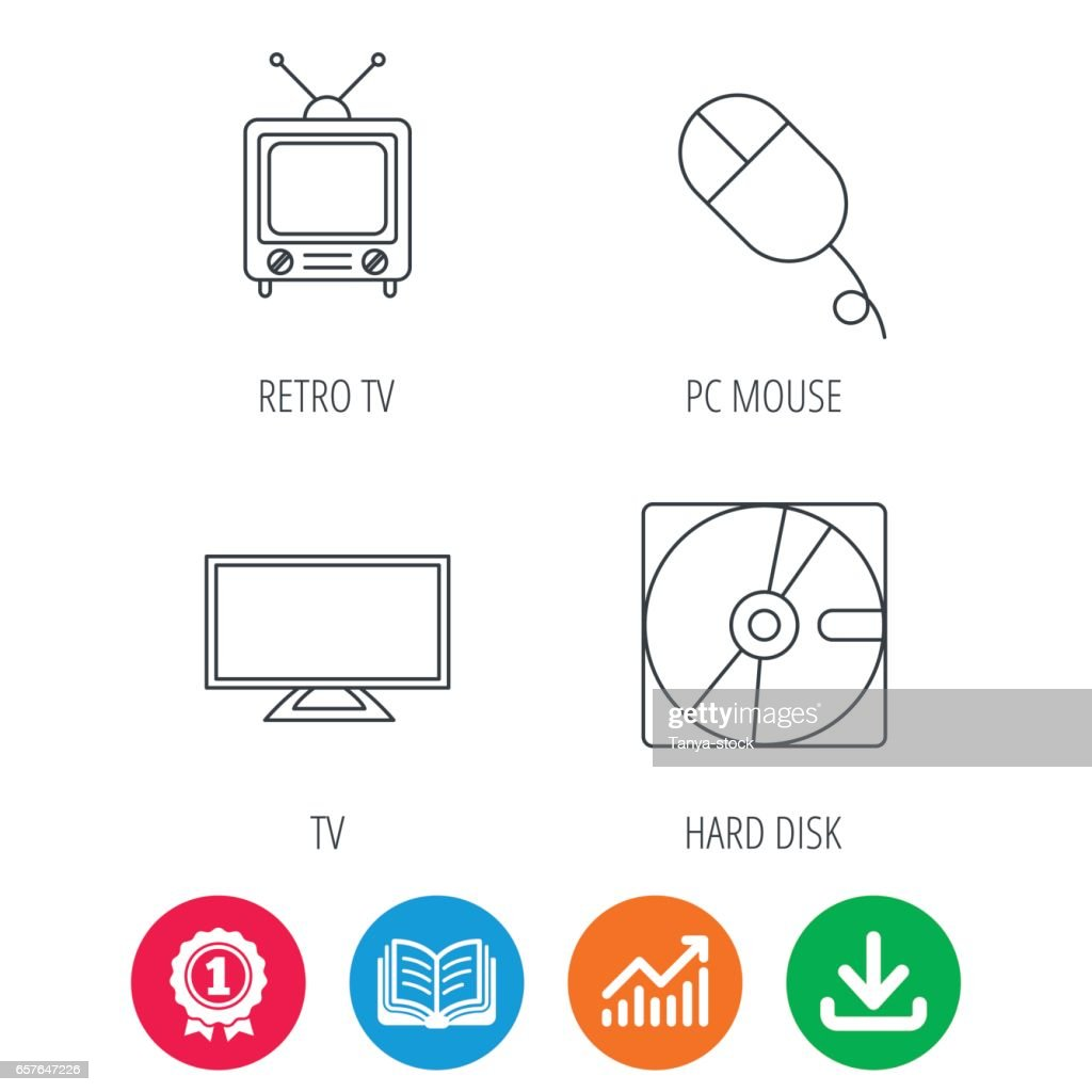 Hard disk, pc mouse and retro tv icons.