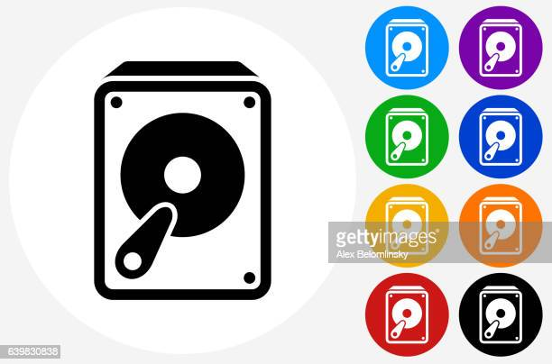 hard drive icon on flat color circle buttons - hard drive stock illustrations, clip art, cartoons, & icons