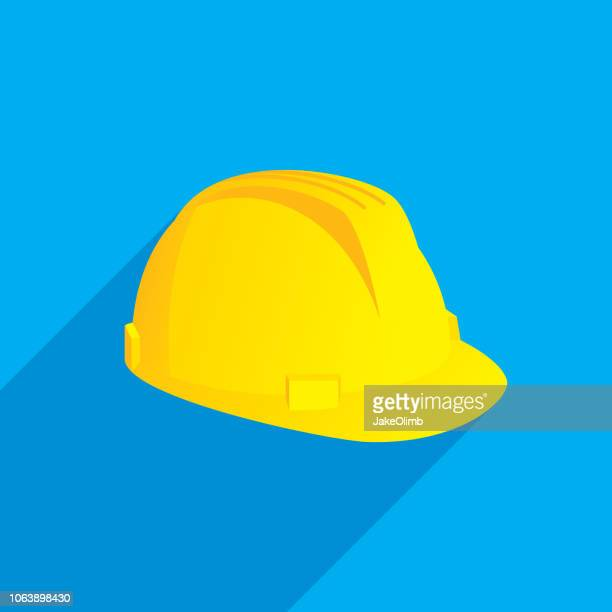 hard hat icon flat - yellow hat stock illustrations