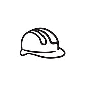 Hard hat sketch icon