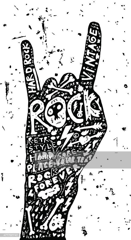 Hard Rock Roll Poster Vintage Label Vector