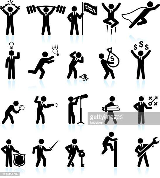 hard work office politics and businessman black & white icons - office politics stock illustrations, clip art, cartoons, & icons