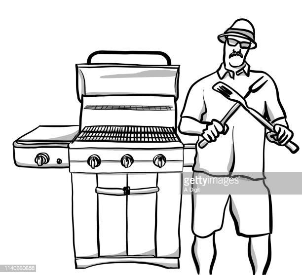 hardcore cooking - funny bbq stock illustrations