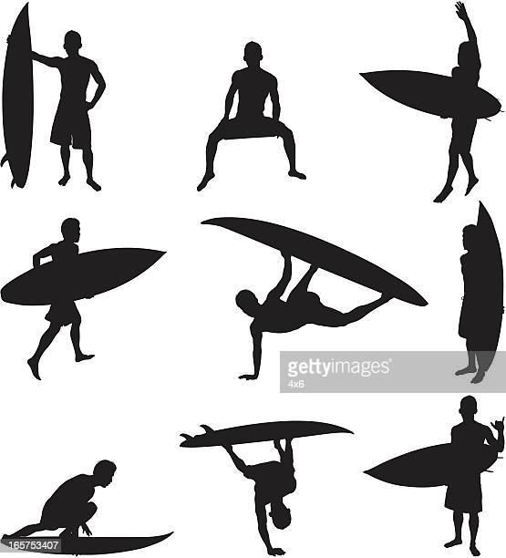 Hardcore surfers surfing