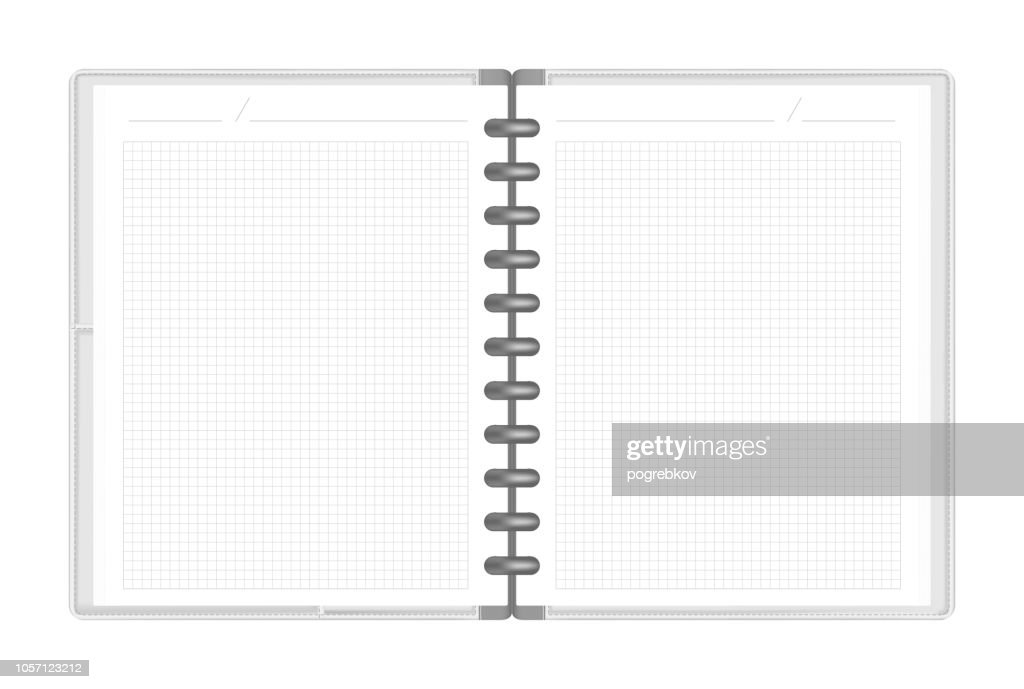 Hardcover discbound loose leaf notebook with interior pocket spread