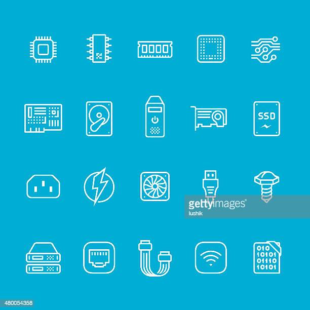 hardware and computer part icons collection - usb cord stock illustrations, clip art, cartoons, & icons