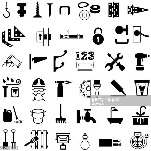 stockillustraties, clipart, cartoons en iconen met hardware en ijzerwaren winkel pictogrammen - nut bolt