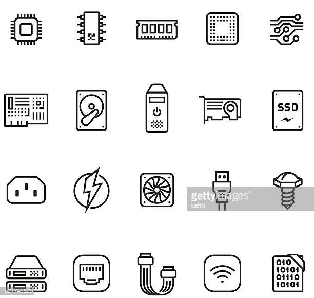 hardware icon set - unico pro 2pt stroke - computer part stock illustrations