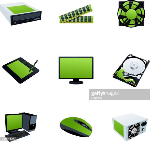 hardware icons - power supply box stock illustrations, clip art, cartoons, & icons