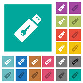 Hardware key square flat multi colored icons