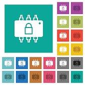 Hardware locked square flat multi colored icons