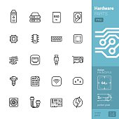 Hardware parts related vector icons - PRO pack
