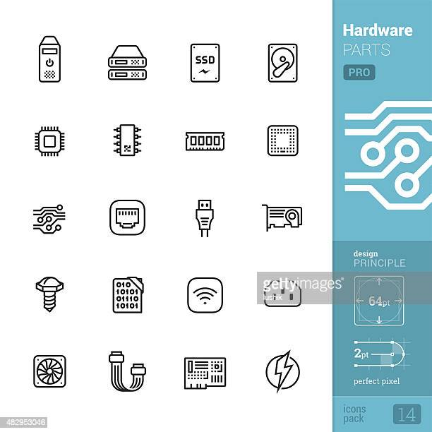 hardware parts related vector icons - pro pack - cable stock illustrations, clip art, cartoons, & icons