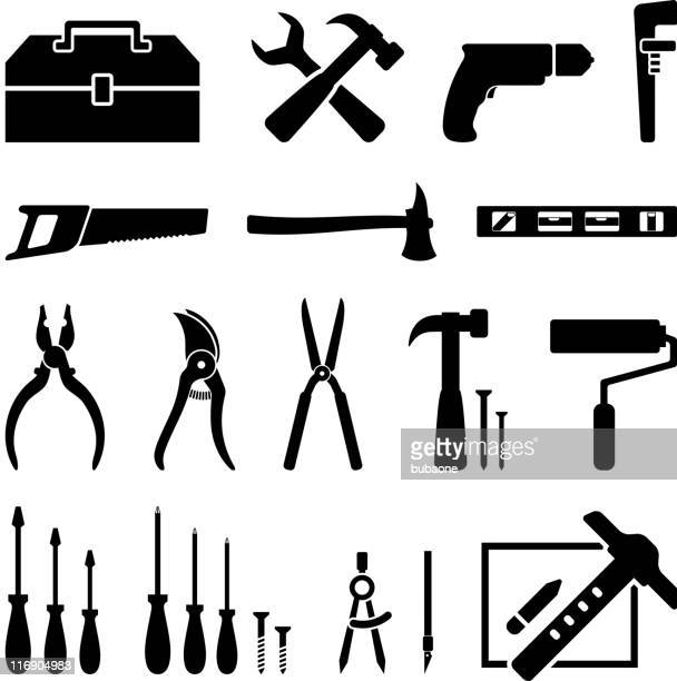 hardware tools black and white icon set royalty free vector - pruning shears stock illustrations, clip art, cartoons, & icons