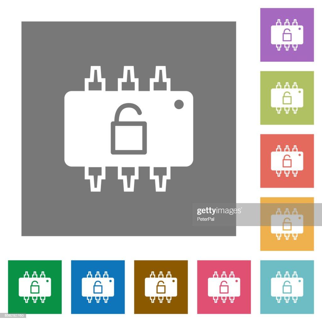Hardware unlocked square flat icons
