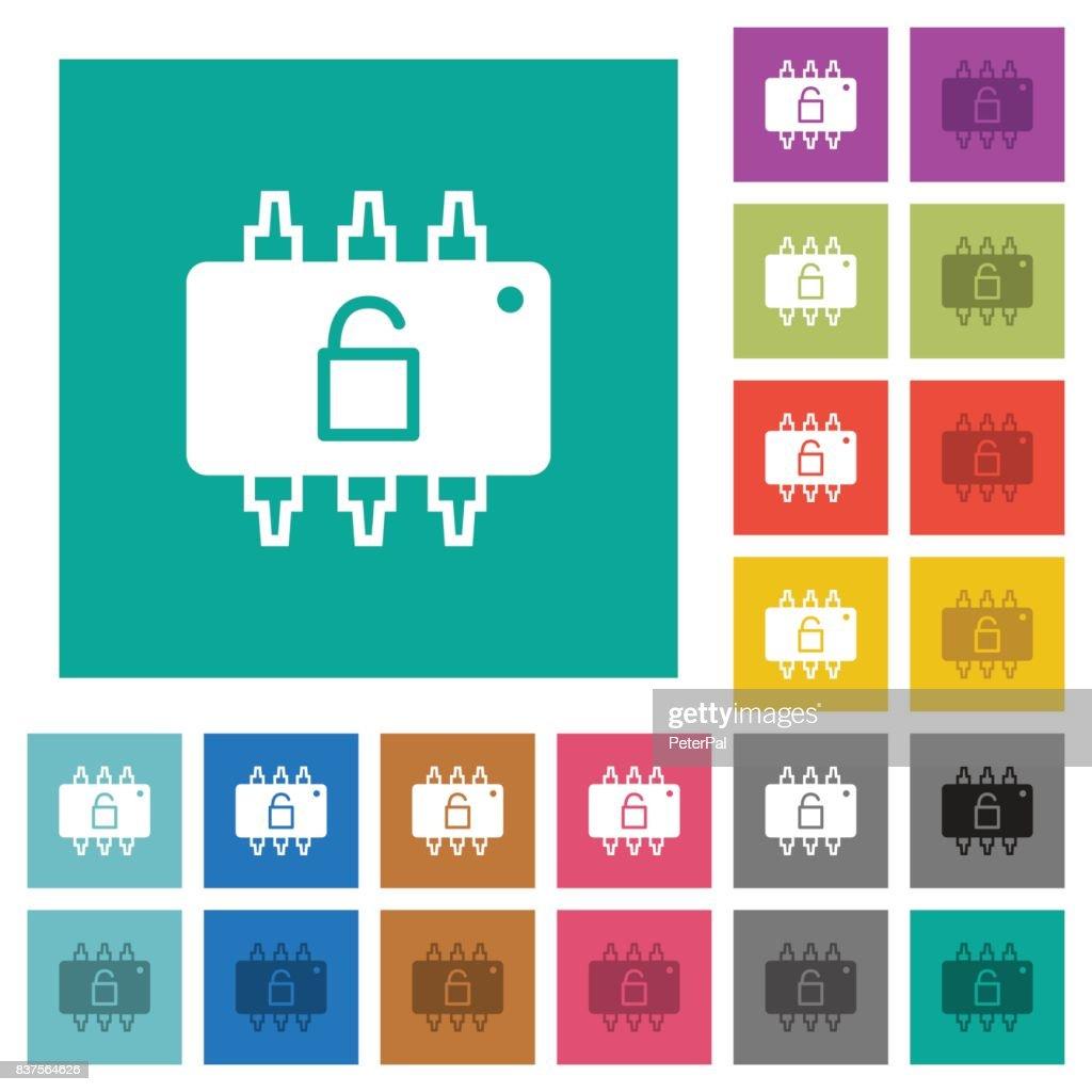 Hardware unlocked square flat multi colored icons