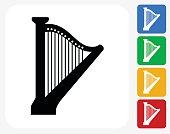 Harp Icon Flat Graphic Design