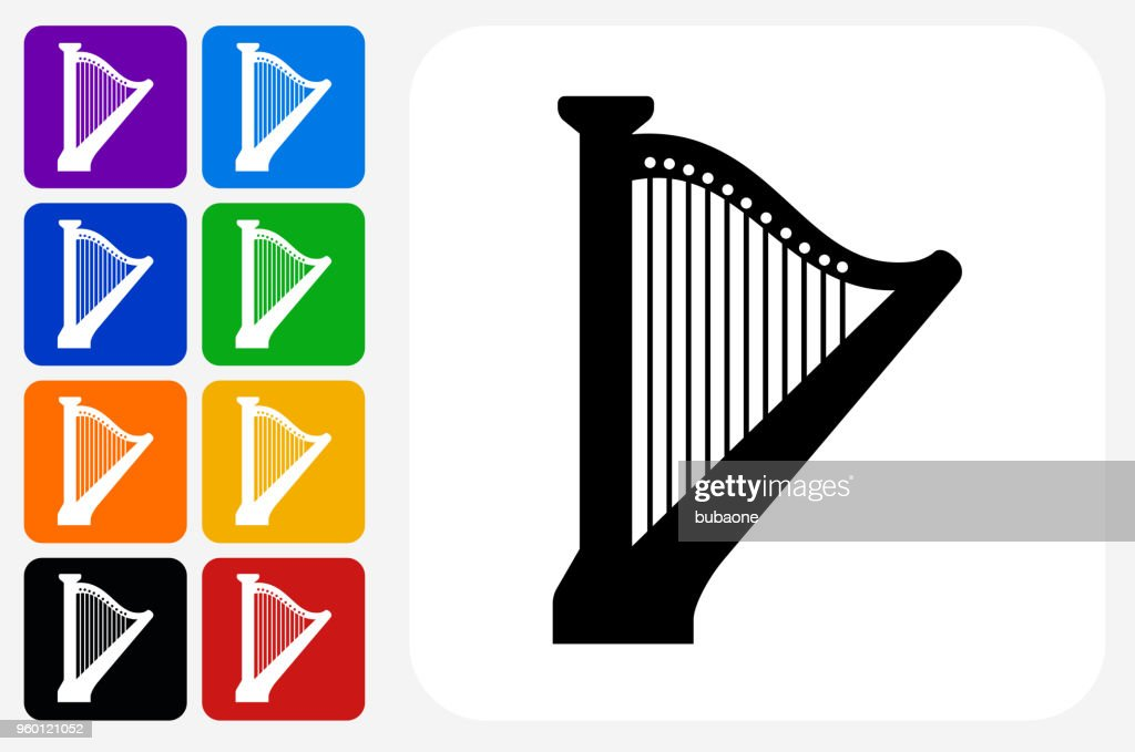 Harfe-Symbol Square Buttonset : Stock-Illustration