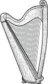 Harp illustration, drawing, engraving, ink, line art, vector