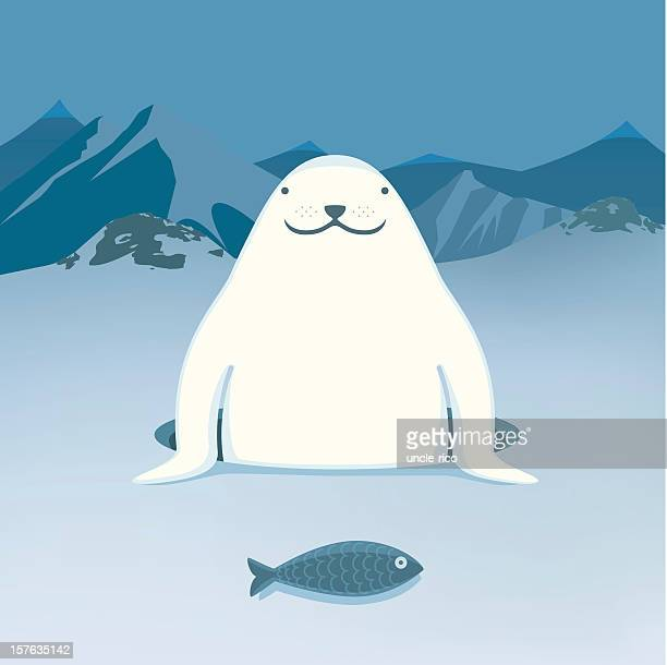 Harp Seal with fish cartoon character